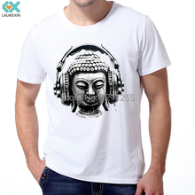 Buddha Head Antique Love Music Headphones Peace Man T-Shirt Funny Design Men's Short Sleeve T Shirt Custom Tees