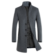 HEFLASHOR 2018 Herfst Winter Mannen Casual Jas Dikker Wollen Trenchcoat Business Man Effen Klassieke Overjas Medium Lange Jassen(China)