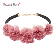 Fashion Black Rope Pink Lace Flower Choker Necklaces Jewelry For Women 2017 Newest Statement Necklaces Collares Hot NM3646