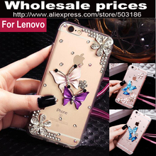 Butterfly Diamond Flower Rhinestone case cover For Lenovo S90 S60 Vibe X2 K3 K4 K6 note K5 plus(China)