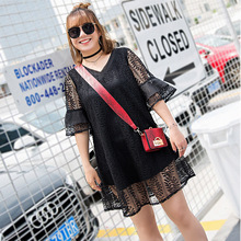 New fashion Korean Edition, big size women's dress, big size 300 pounds, can wear dresses, summer lace dress 393