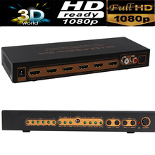 4K HDMI Splitter 2X4 Switcher switch 14V with SPDIF/L/R audio extractor out 3D&full HD1080P