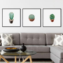 Modern Minimalist Abstract Cactus Potted Painting Poster Image A4 Art Print Canvas Mural Living Room Bedroom Home Decor OT037