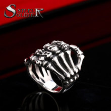 steel soldier new style wholesale skull hand ring Stainless Steel High Quality Skull Punk Man's Cool Ring For Boy Best Gift