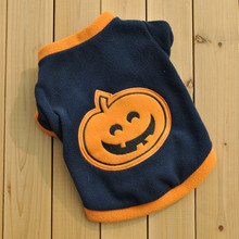 Pet Dog Puppy Fleece Warm T-shirt Vest Cute Halloween Pumpkin Print Clothes Pet Dog Apparel Clothes Shirt(China)