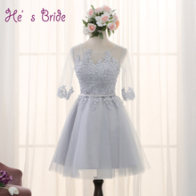 Plus Size Customized Half Sleeved Evening Dresses with Lace Appliques Mini Bride Banquet Party Prom Dress Formal Robe De Soiree