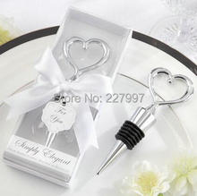 100pcs/lot wedding gift souvenirs, party giveaway gifts of zinc alloy heart wine stopper in white box