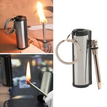 1pc Stainless Steel Permanent Survival Camping Emergency Fire Starter Flint Match Lighter With KeyChain