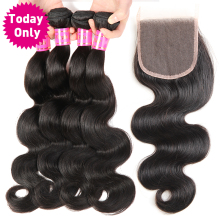 [TODAY ONLY] Brazilian Body Wave 3 Bundles With Closure 100% Human Hair Bundles Lace Closure With Baby Hair Non Remy Hair Weave(China)