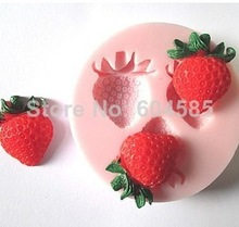 New Three Holes Strawberry Fruit Silicone Mold Fondant Molds Sugar Craft Tools Chocolate Mould For Cakes