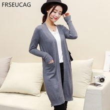 FRSEUCAG 2017 popular new ladies drawn cashmere cardigan long paragraph V neck knitted jacket wild models(China)