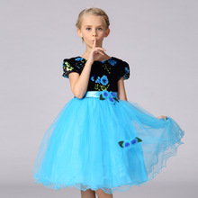Floral Print Girls Summer Dresses  Flowers Princess elsa Wedding Birthay Party tulle Dress kids Frock Designs For 2 4 6 8 10 Yrs