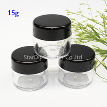 free shipping 500pcs 15g Clear Plastic Cosmetic Jar, Used As Promotion Cream Glitters Sample Packaging