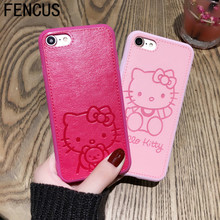High Quality Pu Leather cute Hello kitty Case for iphone 7 7plus 6 6s 6plus Lovers TPU Silicone Phone Case Back Cover Capa(China)