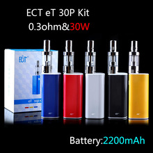 30W ET30P Electronic Cigarette Mechanical Box Mod 2200mah 18650 Rechargeable Battery 2.5ml Real Fog Mini Atomizer Wick Airflow