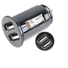 Newest 2 Ports Dual USB Mini Bullet Car Charger 5V 2.1A Power Dual Adapter For Cell phone MP3 Cables, Adapters & Sockets