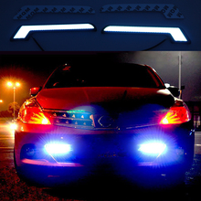 2pcs/lot New Led DRL L Shape 12V Xenon White Ice blue LED COB Car Auto LED DRL Driving Daytime Running Lamp