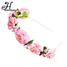 haimeikang Korean DIY Bouquet Hair Ring Headband PE Flower Small Rose Flower Crown Headband Girls Women Bride Hair Accessories