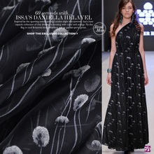 Dandelion 100% mulberry silk chiffon cloth printed black fabric for clothing wedding dress beach carf sewing accessories