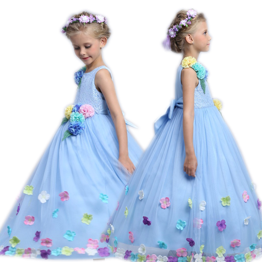 Princess Fair Girl Long Dress Summer 3-12 Years Floral Baby Girls Formal Dress Vestidos Blue Wedding Party kids Clothes<br>