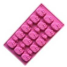 New 1pc 15 Hole Cartoon Cats Hello Kitty Silicone Biscuit,Fondant,Pudding,Cookie,Jelly,Chocolate Mold Cake Decoration Tool A979