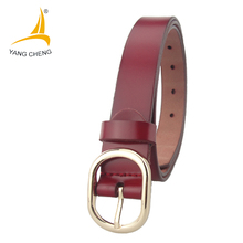 [CNYANGCHENG] red leather  belts for women 2.5cm 7 holes soft women belts clothing belts  for women japanese word buckle