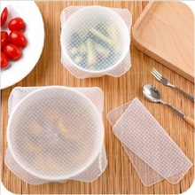 New 4pcs Multifunctional Food Grade Plastic Wrap Reusable Fresh Keeping Saran Wrap Kitchen Tools Silicone Food Wraps Seal Cover(China)