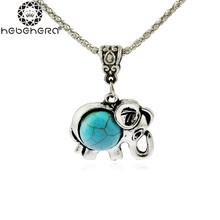 B0894 Fashion Elephant OWL Flower Drop Pendant Necklace for Women Girls Antique  Stone Short Necklace 2016 New Jewelry