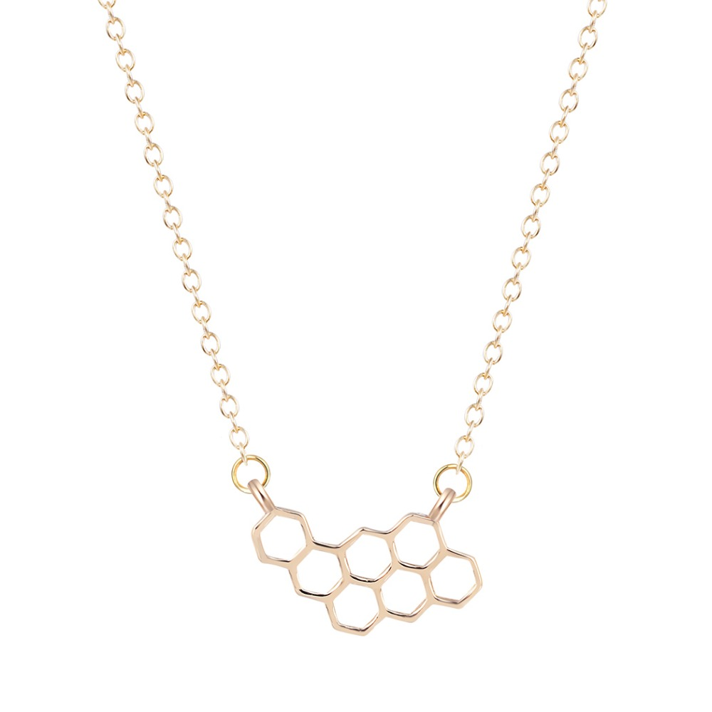 QIAMNI-Unique-Jewelry-Cute-Simple-Honeycomb-Beehive-Hive-Bee-Honeybee-Necklace-Pendant-Collares-Fashion-Gift-for (1)