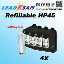 4x Refillable hp45 ink cartridge compatible 51645A for hp 45 CAD Graph plotter Graph plotter for HP1280 1180 Deskjet 710C 712C