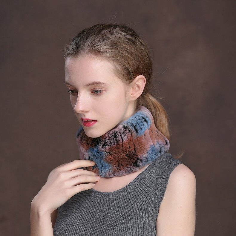 Winter Fur Headbands For Women Knitted Rex Rabbit Fur Scarf Hats Natural Fur Ring hairband Neckwarmer female (5)