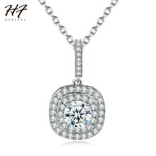 New Classic Square Sharped Pendant Sliver Color AAA+ CZ Created Cubic Zirconia Necklace Jewelry for Women Wholesale N610