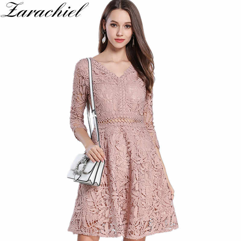 d44d9e7262 Detail Feedback Questions about Zarachiel 2019 New Summer Pink Lace Dress  Women Elegant Sexy V Neck Hollow Out Floral Slim Tunic Party Swing Skater A  Line ...