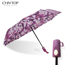 Oil Pattern Flowers Umbrella Men 3Folding Automatic Color Handle Brand Lady Pocket Umbrella Rain Women Outdoor Windproof Parasol