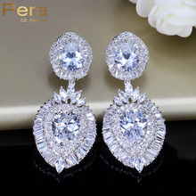 Pera Luxury Cubic Zirconia Stone Indian Women Big Long Dangling Drop Earrings Wedding Party Costume Jewelry For Brides E142(China)