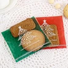 100 pcs/pack Christmas Tree Gift Bags Biscuit Bags Ornaments Candy Bags Christmas Storage Bags High Quality 10x10cm