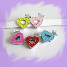50pcs 8mm Crown Heart  Slide Charms Fit Pet Dog Cat Tag Collar Wristband