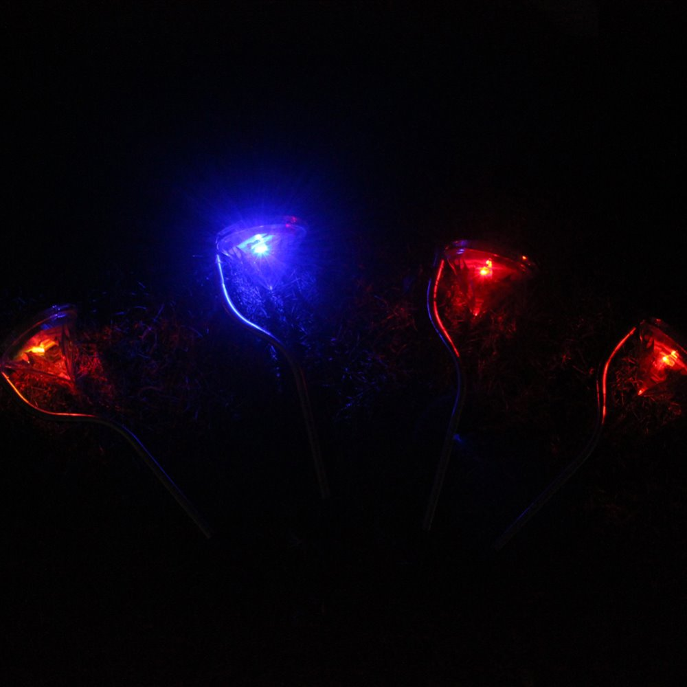 4Pcs Outdoor Solar Power Multicolor LED Path Wall Landscape Garden Lamp Light Christmas<br><br>Aliexpress
