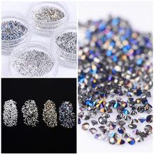 4 Boxes 300Pcs Mini Holo 3D Nail Art Rhinestone Shining Zircon Nail  Rhinestones 1.2mm Micro Diamonds Sharp Bottom Manicure db6b89767592