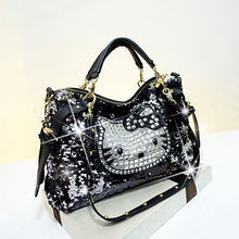 Womens socialite designer cute bear cartoon hello kitty casual tote rhinestone bling soft zipper handbags female shoulder bags 5