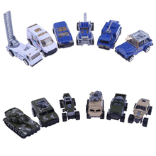 Children Gift Toy 6pcs/Set 1:64 Alloy Model Toy Police Car Military Vehicle Slide Cars For Boy Kids Toy Vehicles(China)