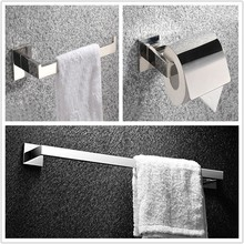 Free shipping Bathroom Accessories Bath Hardware Set Square Solid SUS 304 S/S ,Bathroom Towel Ring,Paper Holder,Towel Bar SM02B(China)