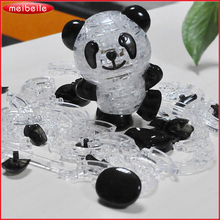 3D Crystal Puzzle Little Panda Statue For Kids 53 Pieces Jigsaw Model DIY Panda Furnishing Gadget Gift For Children