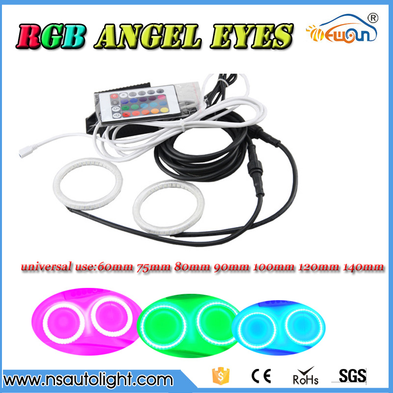 rgb Angel Eyes 60mm 75mm 80mm 90mm 100mm 120mm 140mm 140mm 2835 smd  RGBW changable remote control  IR led auto Halo Rings Kit  <br>