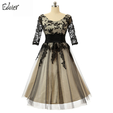 Champagne Short Prom Dresses A Line Scoop 3/4 Sleeve Appliques Black Lace Knee Length Evening Dresses Prom Gown for Wedding