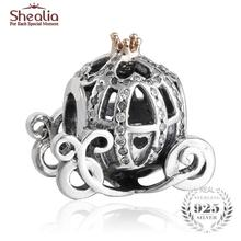 SHEALIA Solid Gold Crown Micro CZ Pave Cinderella Pumpkin Coach Charms Beads Fit Charm Bracelets Diy 925 Sterling Silver Jewelry
