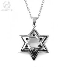 AgentX Hexagram Pendants Silver Magen David Pendant Charms Jewelry Jewish Star Solomon Seal Mens Israel Chain + Gift Bag /AAP306(China)