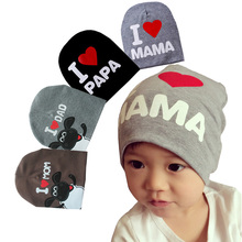 Baby Hats Newborn Boys Hats 2016 Cotton Kids Beanie Photography Props Baby Costumes Knitted I LOVE MOM/DAD Baby Caps for Boys