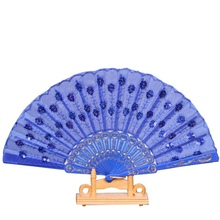 Spanish Party Dance Folding Hand Fan Colored Plastic Pole Sequined Fan