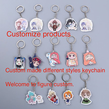 customized Acrylic keychains plastic cartoon white keyring pendant provide picture custom company design advertising gift